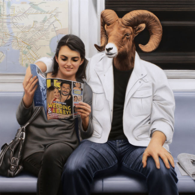 05-Downtown-Express-Ram-Matthew-Grabelsky-Paintings-of-Animal-Human-Hybrids-on-the-Subway-www-designstack-co