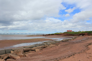 Looking at the Confederation Bridge from Cape Traverse, Prince Edward Island.