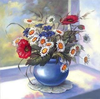 Flores no vaso azul. Pintura a óleo.