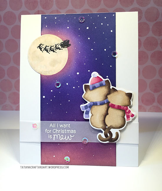 Holiday Cat card by Tatiana Trafimovich | Newton's Christmas Cuddles Stamp set by Newton's Nook Designs #newtonsnook