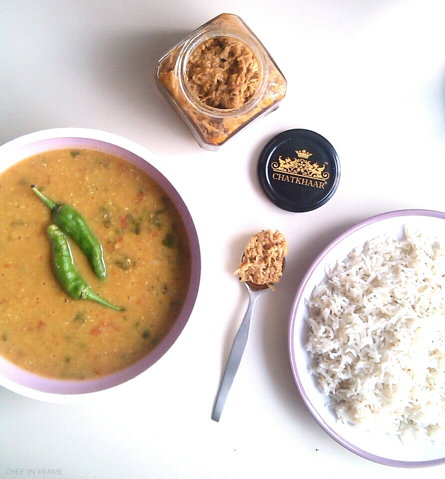 Daal chawal with chicken pickle
