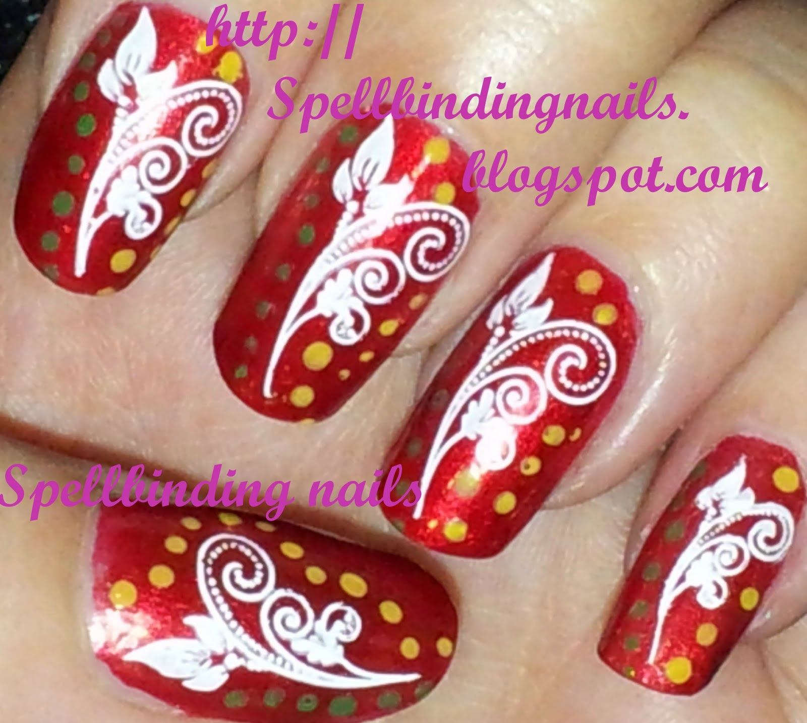 Spellbinding Nails: XL H + ' A Swirly Floral Design