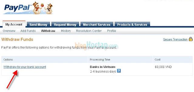 Rút tiền từ Paypal về Ngân Hàng Việt Nam bước 2