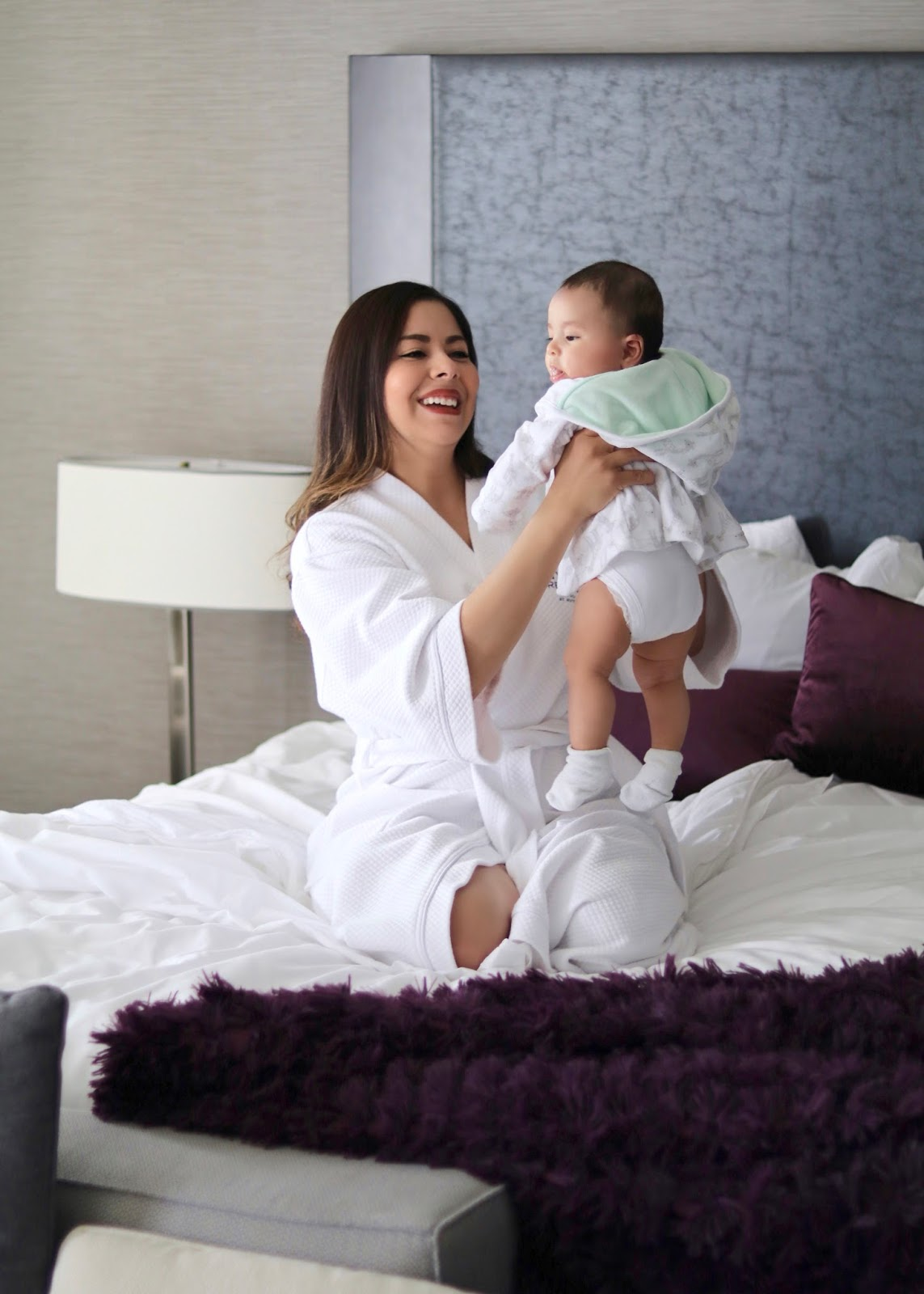 Staycation at the Hyatt Regency La Jolla, baby and me in robes, san diego mommy blogger