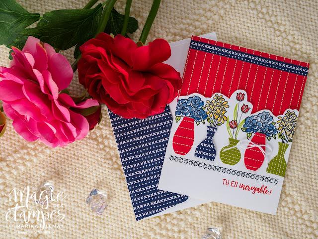 Carte présentant le jeu d'étampes Vibrant vases Stampin' Up!