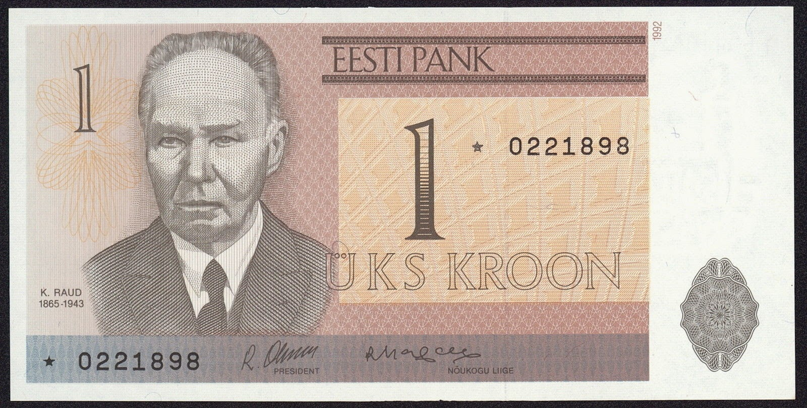 Estonia currency money 1 kroon banknote, Kristjan Raud