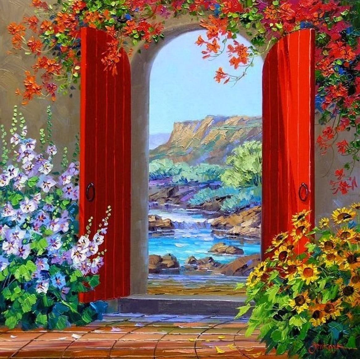Cuadros modernos pinturas y dibujos imagenes de flores for Puertas pintadas originales