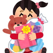 沢山のプレゼントを抱えた女の子のイラスト