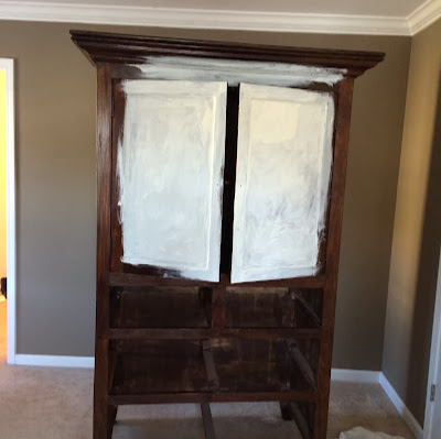 Armoire finished in Annie Sloan Duck Egg Blue and Old White | The Lowcountry Lady