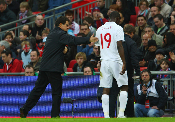 Carlton Cole of England walks of the pitch injured during the International Friendly match between England and Slovakia at Wembley Stadium on March 28, 2009 in London, England