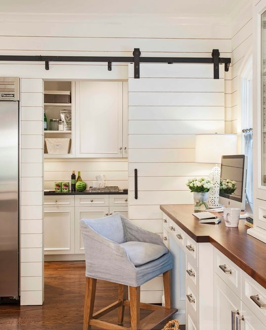 image result for modern farmhouse shiplap white kitchen with sliding barn door to pantry