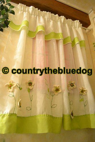 Tende country panna e verde for Tende cucina country