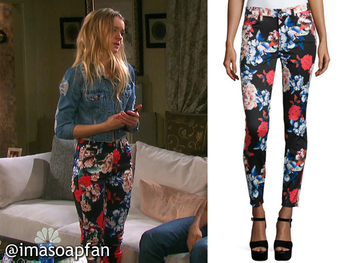 Claire Brady's Black, Red, and Blue Floral Print Skinny Jeans - Days of Our Lives, Season 51, Episode 08/25/16