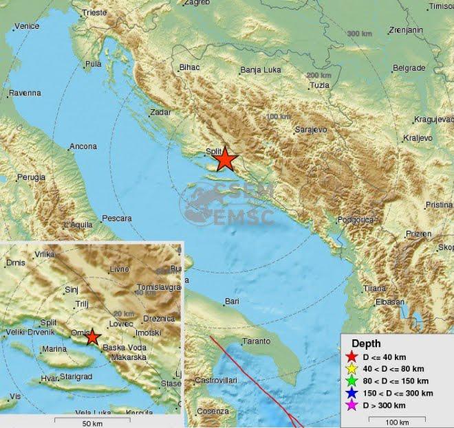 Terremoto sulla Costa Croata meridionale crea spavento a Spalato in Croazia | INGV Terremoti