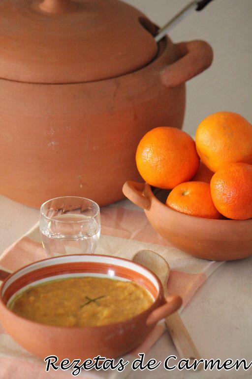 Crema de calabaza y mandarina.