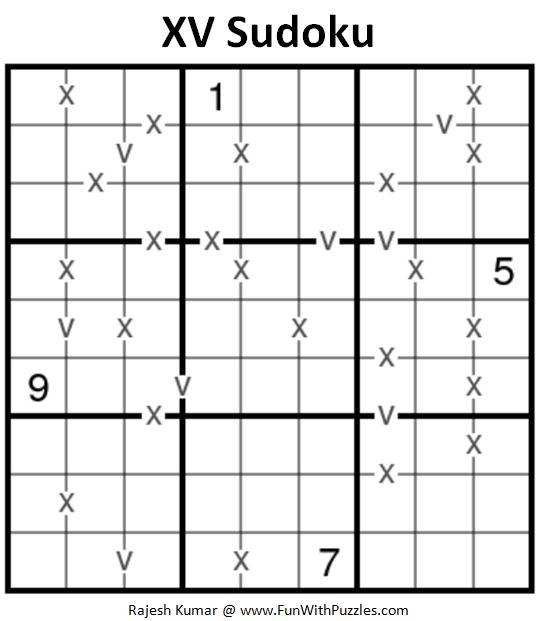 XV Sudoku Puzzle (Fun With Sudoku #240)