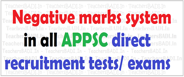 Negative marks system,APPSC direct recruitment tests,examinations