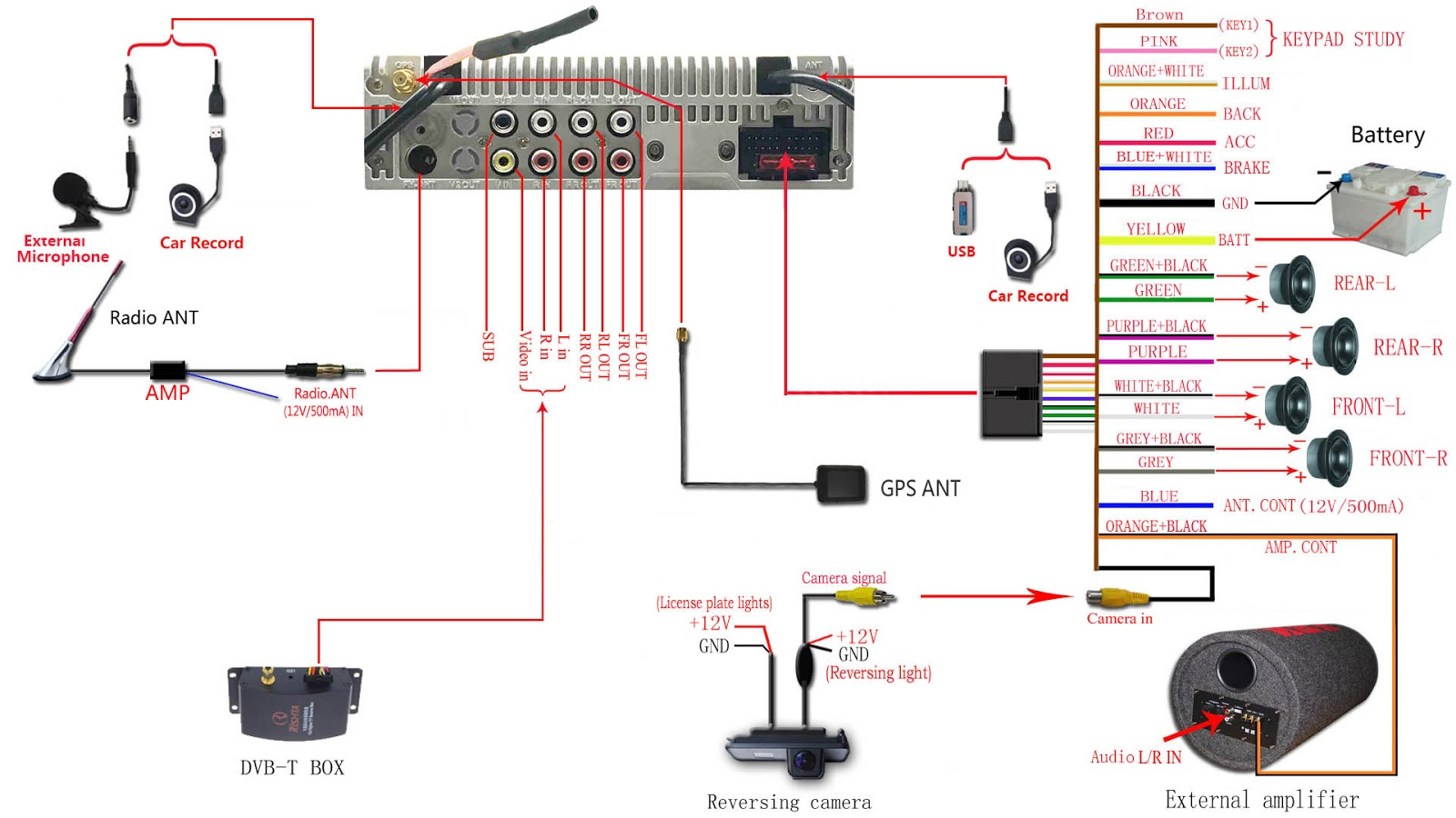 car sub and amp wiring diagram rj11 wall socket australia joying single din stereo installed on jeep dodge this is the of as reference