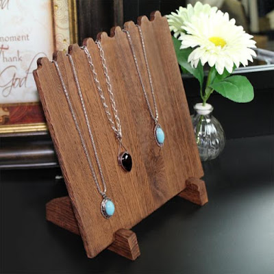 DIY 8 necklaces wooden plank necklace jewelry display stand.