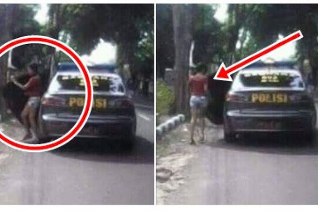 Menghebokan, Adanya Beredar Foto Mobil Polisi Sedang Menurunkan Gadis Seksi Di Pinggir Jalan