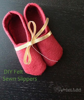 DIY Felt Sewn Slippers