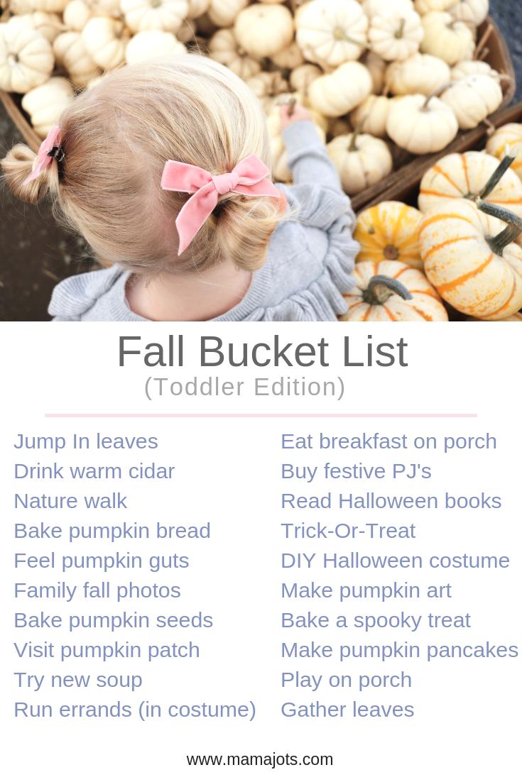 fall bucket list for kids. toddler