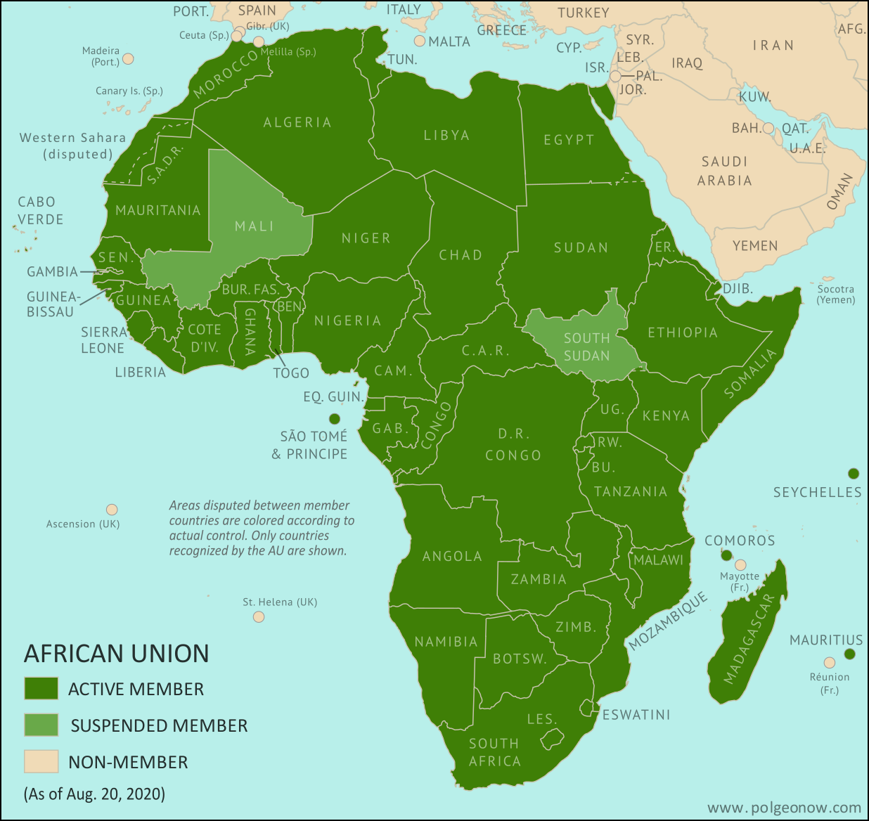 African Union: Map of Africa showing which countries are in the African Union in 2020, including active and suspended member countries and non-member territories. Updated for the September 2019 reinstatement of Sudan, the June 2020 suspension of South Sudan, and the August 2020 suspension of Mali (colorblind accessible).