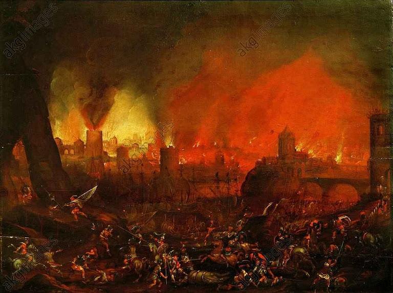 O Saque de Roma em 1527. Autor italiano do século XVII.