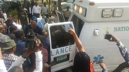 PDP Ex-Spokesman, Olisa Metuh Brought To Court In Ambulance