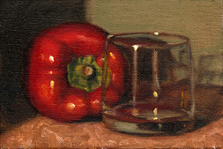 Oil painting of a red pepper beside an old fashioned glass.