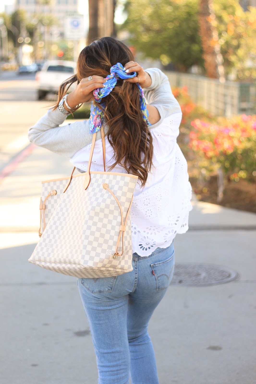 Louis Vuitton Neverfull GM and Eyelet back Sweatshirt with floral hair scarf
