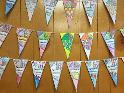 Math pennants in Mrs. E's classroom