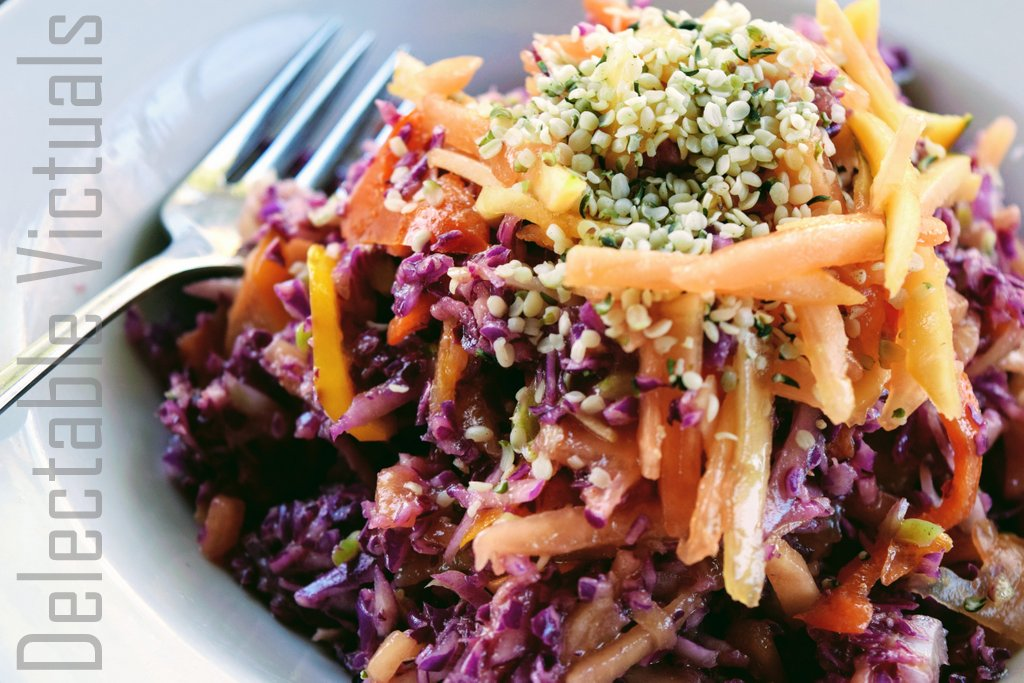 Cabbage Papaya Peppers Slaw with Hemp Hearts and Bits of Dates