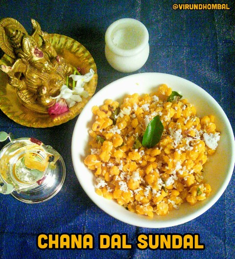 Chana dal/Poomparuppu/Kadalai paruppu sundal  Wish you all a Happy Ganesh Chaturthi. For this Ganesh Chaturthi prepare this easyPoomparuppu/kadalaiparuppu/chana dal sundal. The chana dal is soaked for about 1 hour and then cooked to retain a little bit crunch, and for perfect texture. For perfect sundal do not overcook the dals and do not add more water while pressure cooking. This sundal is made with the basic ingredients such as coconuts, ginger, asafoetdia powder and chillies. You can adjust the seasonings according to your taste preference.For any type of sundals always try to temper with less oil.