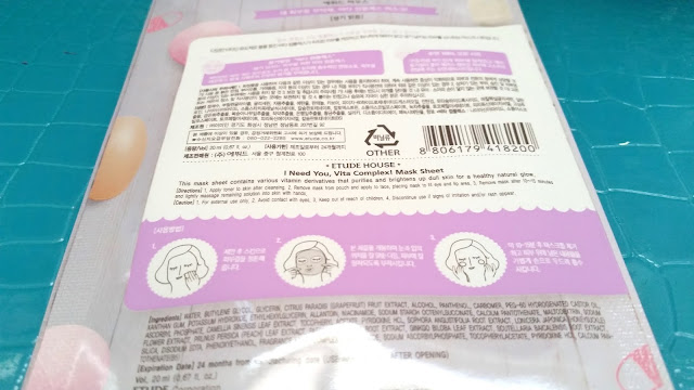Etude House I Need You Vita Complex Mask ingredients