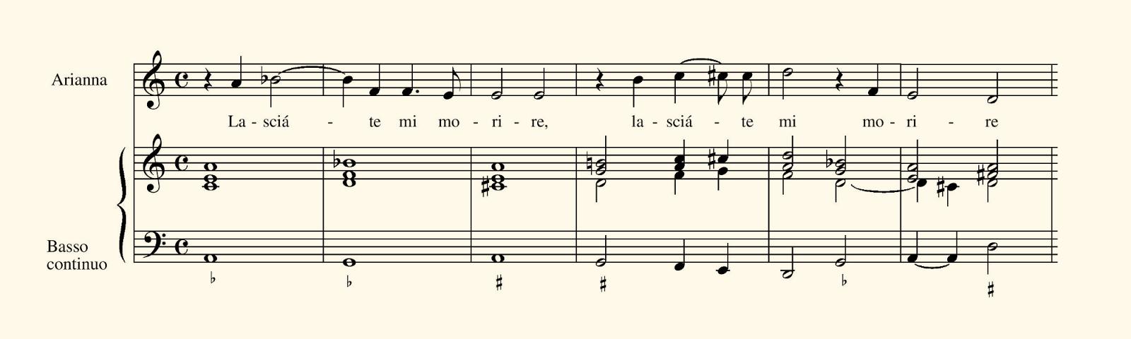Figura 3. Partitura de los compases iniciales del Lamento de Ariadna de Monteverdi.