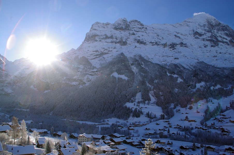 Grindelwald Eiger View from Hotel Belvedere