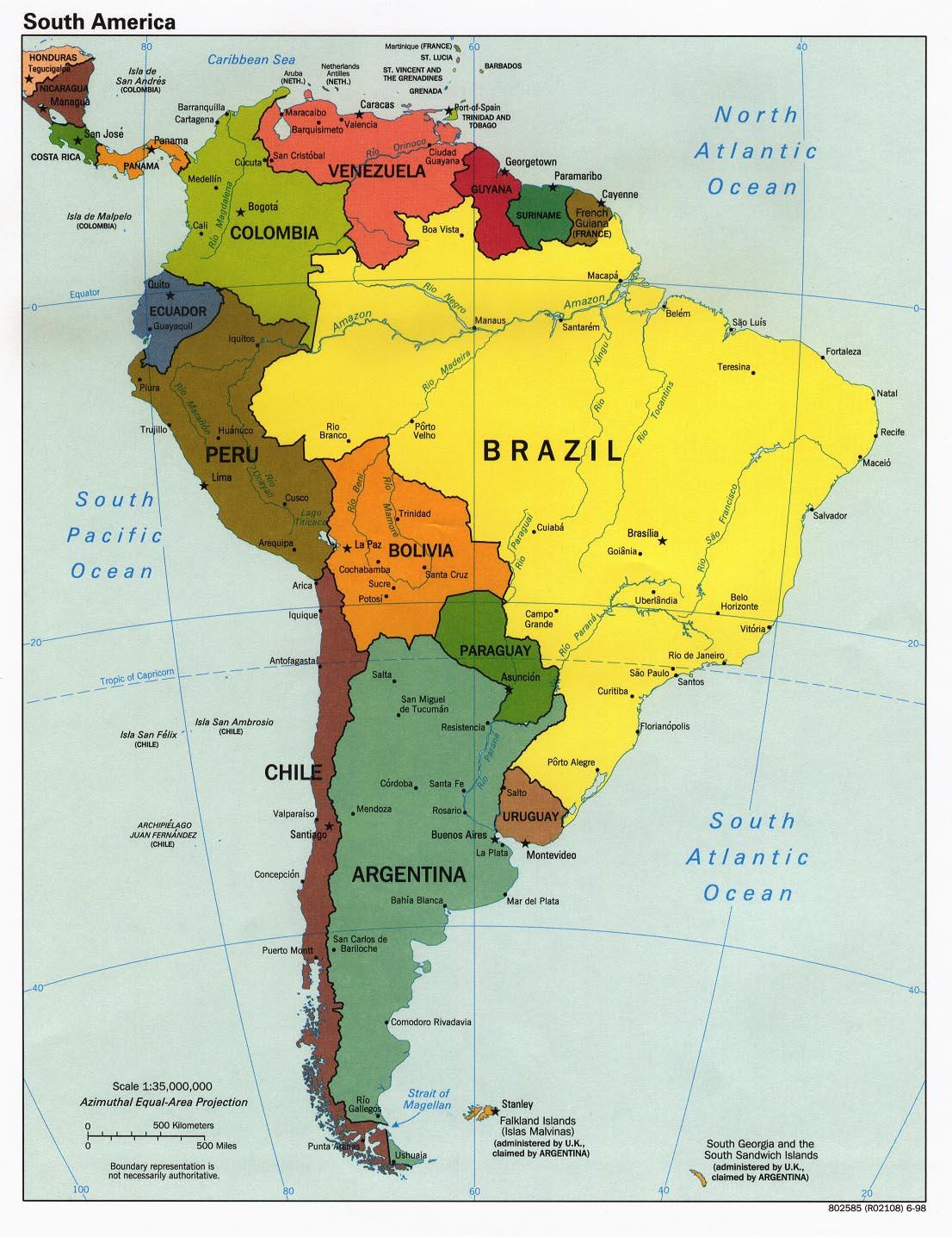 Sydamerika Karta Over Region Politiska