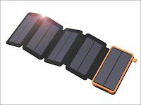 5枚のソーラー充電パネルの付いたモバイルバッテリー