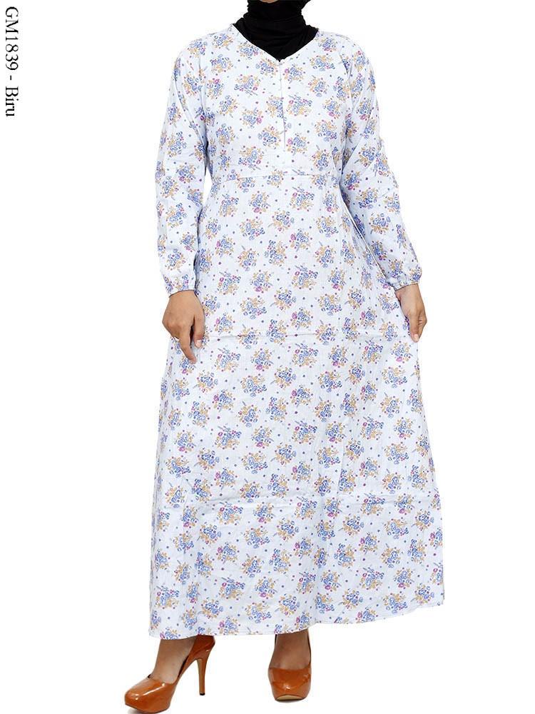 Gm1839 Gamis Motif Katun Jepang Busana Muslim Murah