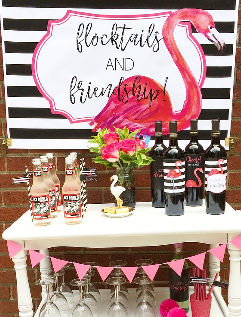 Flamingo cocktail party ideas via BirdsParty.com @birdsparty