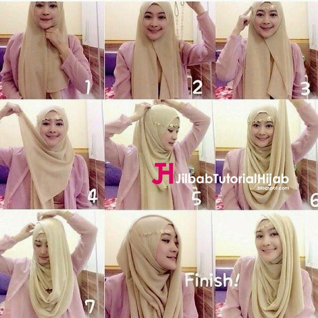 Kumpulan Gambar Tutorial Cara Memakai Hijab pesta glamour terbaru