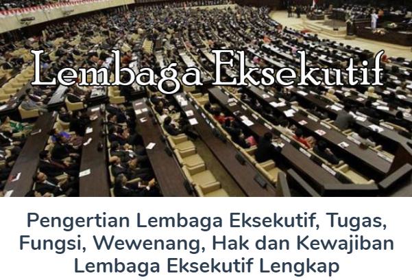 Membahas Materi Pengertian Lembaga Eksekutif Beserta Tugas, Fungsi, Wewenang, Hak dan Kewajiban Lembaga Eksekutif Lengkap