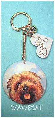 dipinti di cane  o gatto su  portachiavi