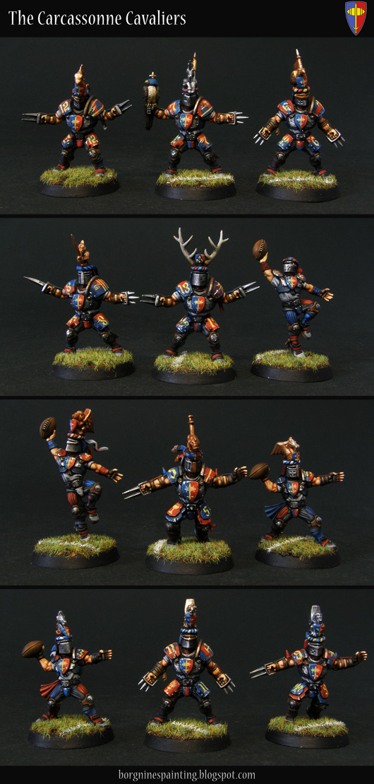 Tabletop miniature Blood Bowl players - a converted Human Team, with their heads replaced with Bretonnian helmets. They have red/blue color scheme with yellow markings - here they are shown seperately, Blitzers, Throwers, Catchers and Linemen.