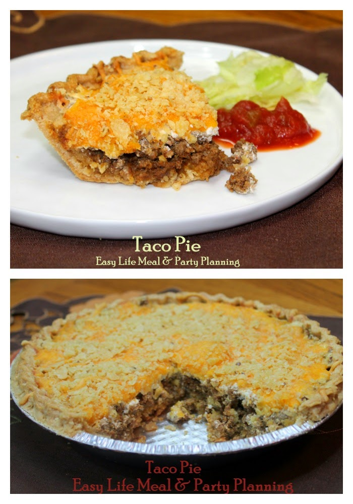 Taco Pie - Easy Life Meal & Party Planning - easy to make taco pie quite tasty with the combination of spicy meat, cheese, and sour cream inside a hot pie shell