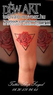 csajos rózsás tetoválás geometrikus alakzattal ötvözve, by déw art, szeged tetoválás