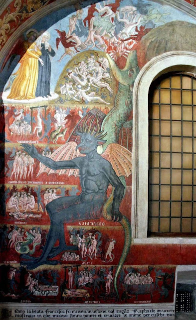 Visão do inferno de Santa Francisca Romana Mosteiro de Tor de'Specchi, pintura de Antoniazzo Romano, 1468.jpg