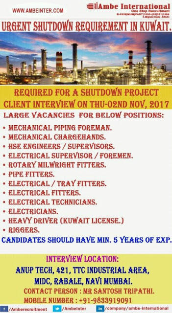 Gulf Oil & Gas Shutdown Jobs in Kuwait | Ambe International