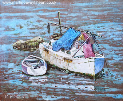 Two boat wrecks at low tide – acrylic painting artist Martin Davey
